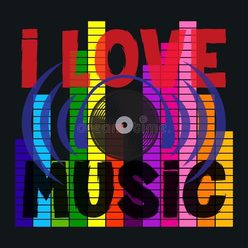 我爱音乐印刷术,迪斯科,T恤杉图表 库存例证