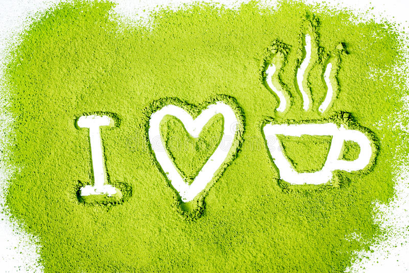 我爱绿茶 库存图片