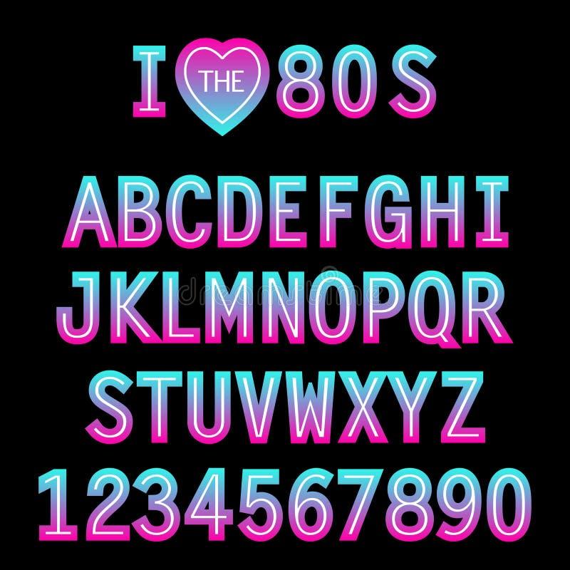 我爱80s 在传统颜色和样式的减速火箭的字体 皇族释放例证