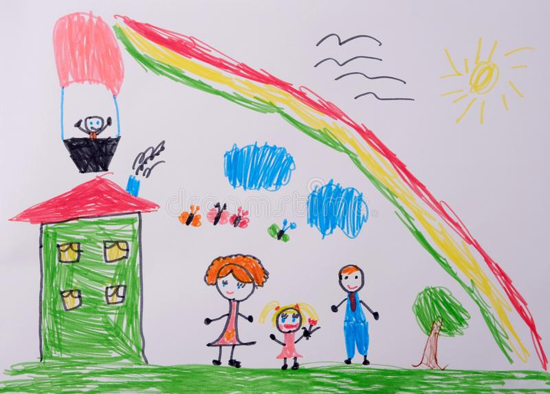 我爸妈和我有个好玩的家庭 彩虹下快乐家庭的童画 孩子的照片能告诉什么 免版税库存图片