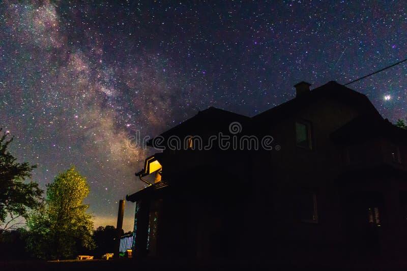 我的在繁星之夜和银河下的房子 免版税库存照片