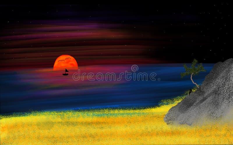 我的梦想日落  免版税库存图片