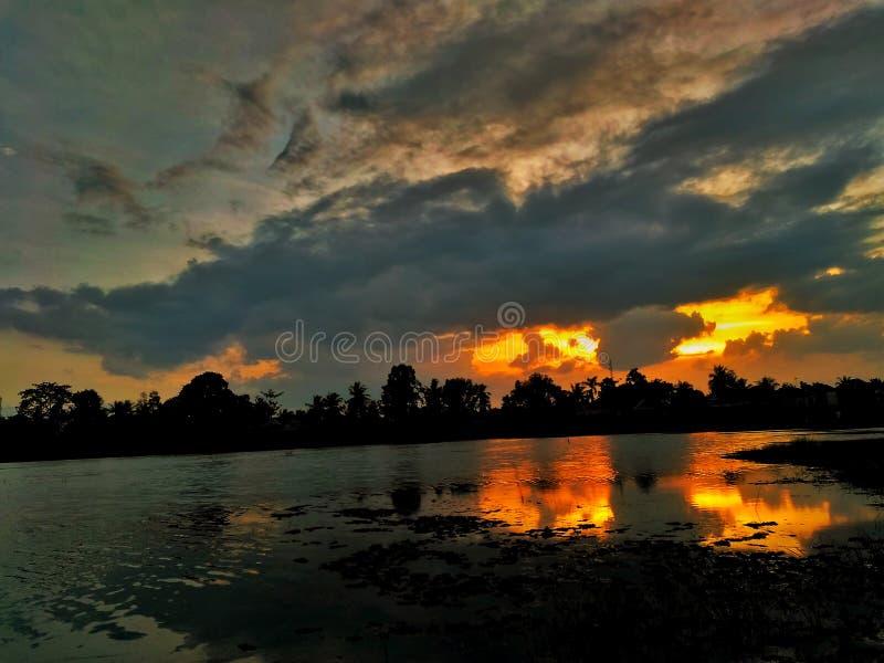 从我的渔斑点的日落 免版税图库摄影