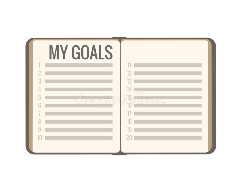 我的目标计划新年2019年 平的笔记本开放与名单在白色背景的传染媒介孤立 严肃的企业调色板 库存例证