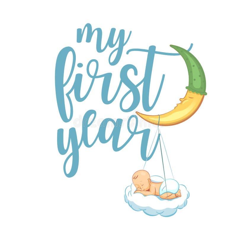 我的第一年 手字法在婴孩衣裳,托儿所装饰袋子,海报,邀请,卡片引述打印 皇族释放例证
