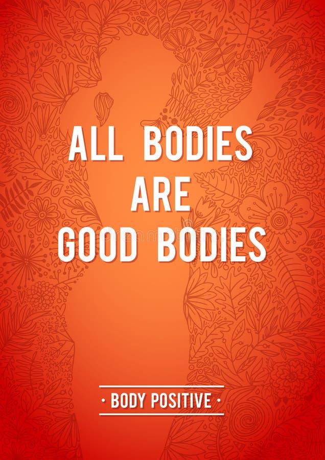 我的身体是正常的 身体正面花卉海报 妇女,花卉等高形状剪影  乱画花卉设计 激动人心 库存例证