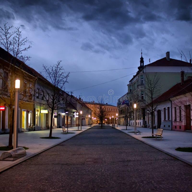我的镇在晚上 免版税库存照片