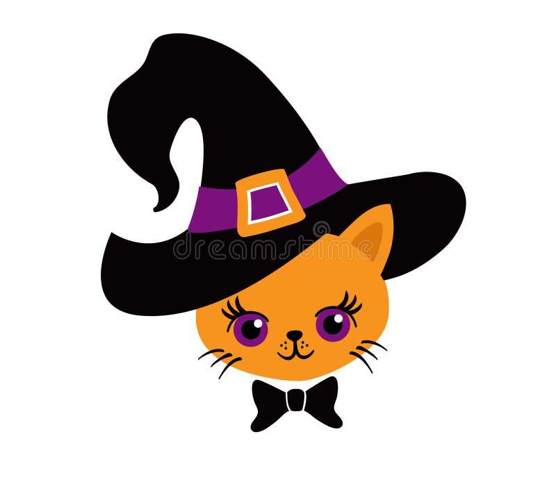 我第一的万圣节 在巫婆的帽子的可爱的小猫 向量例证