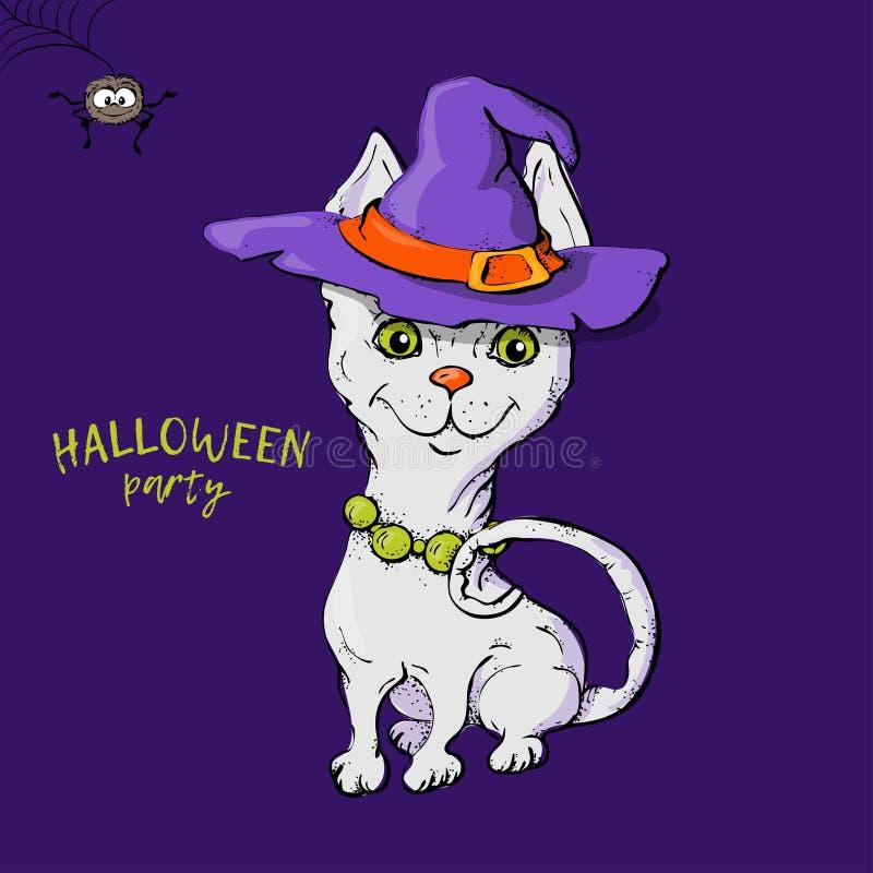 我第一的万圣节 在巫婆的帽子的可爱的小猫 库存例证