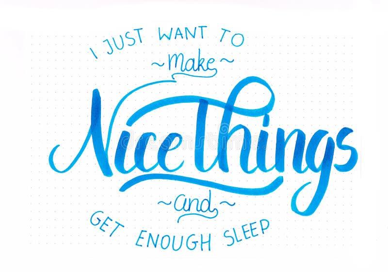 我要做好的事和得到足够的睡眠` -的`递在蓝色的字法行情 库存例证