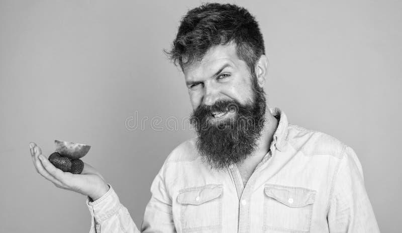 我食用您的款待 人提供尝试草莓,并且苹果果子对待蓝色背景 行家有胡子的举行 免版税库存图片