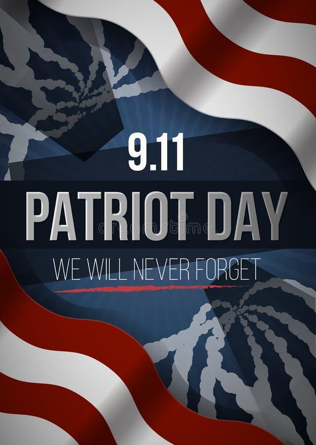 我们不会忘记 9 11个爱国者天背景,美国国旗镶边背景 爱国者天2001年9月11日 皇族释放例证