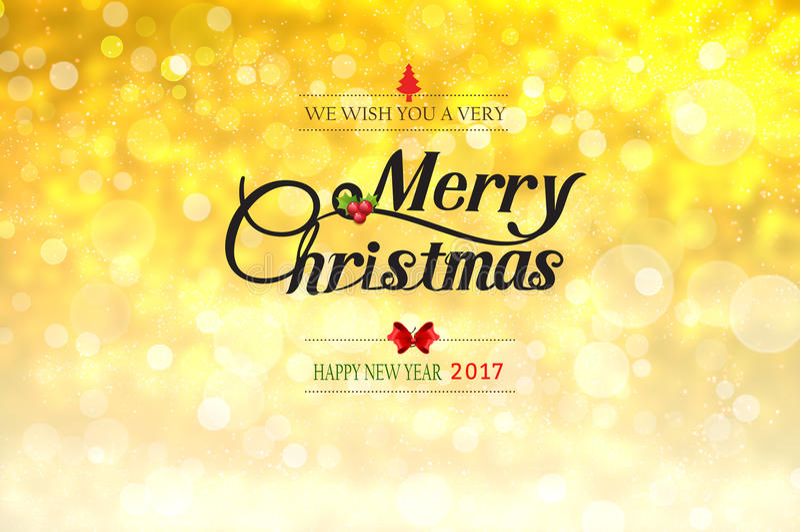 我们与您非常圣诞快乐和新年好2017文本 向量例证