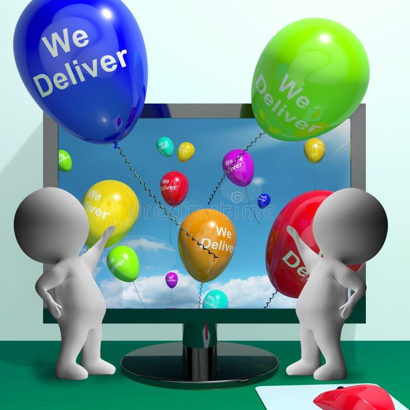 我们交付气球从显示交付运输或L的计算机 向量例证