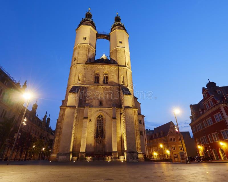我们亲爱的夫人市场教会在哈雷,德国 免版税库存照片