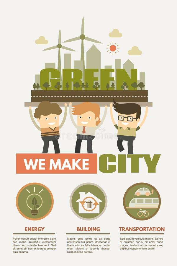 我们做绿色城市的绿色城市概念 皇族释放例证