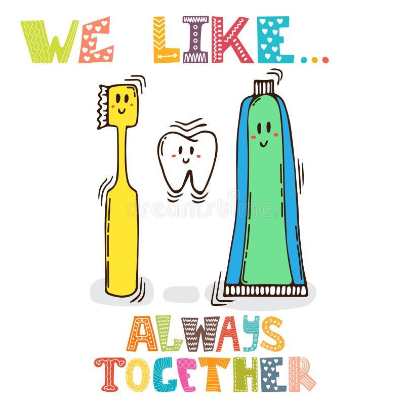 我们喜欢 一起背景海洋 牙,牙膏逗人喜爱的字符  库存例证