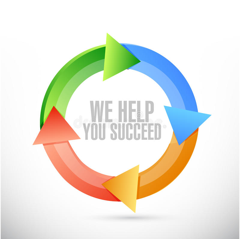 我们帮助您成功颜色周期标志 库存例证
