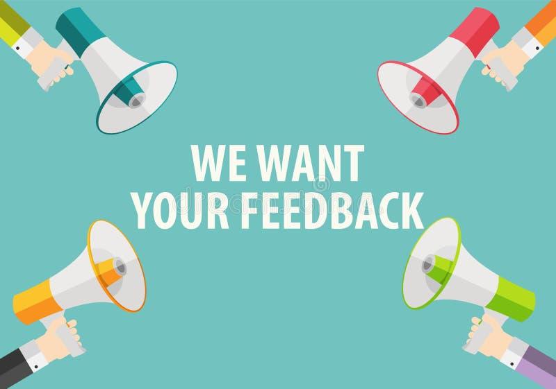 我们想要您的反馈背景 有扩音机和讲话的手 库存例证