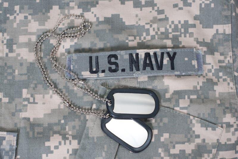 我们海军被伪装的制服 免版税库存图片