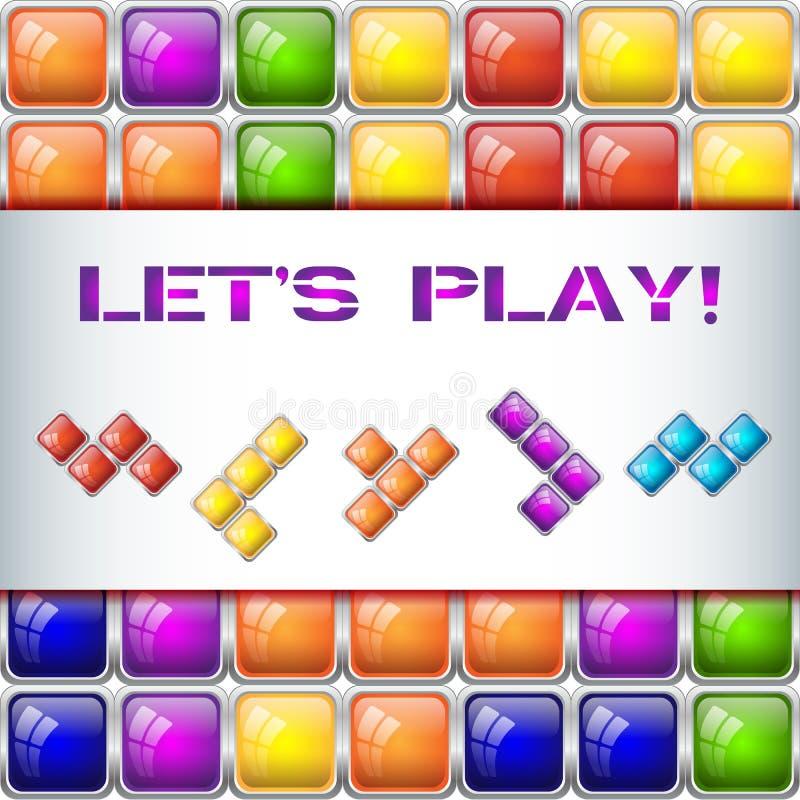 我们演奏与瓦片块的概念 向量例证