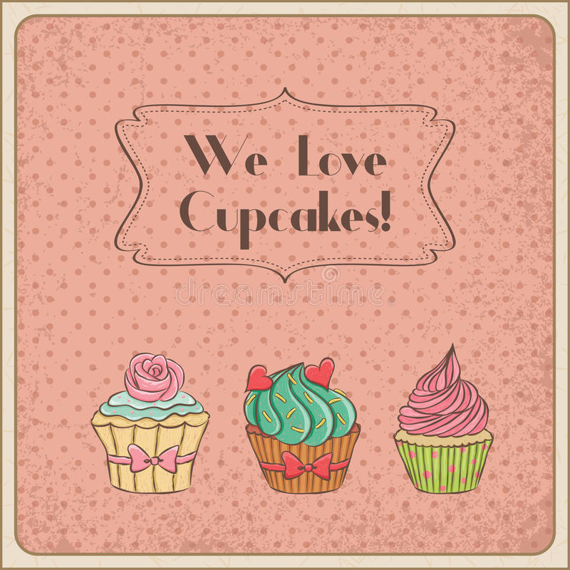 我们爱杯形蛋糕 皇族释放例证