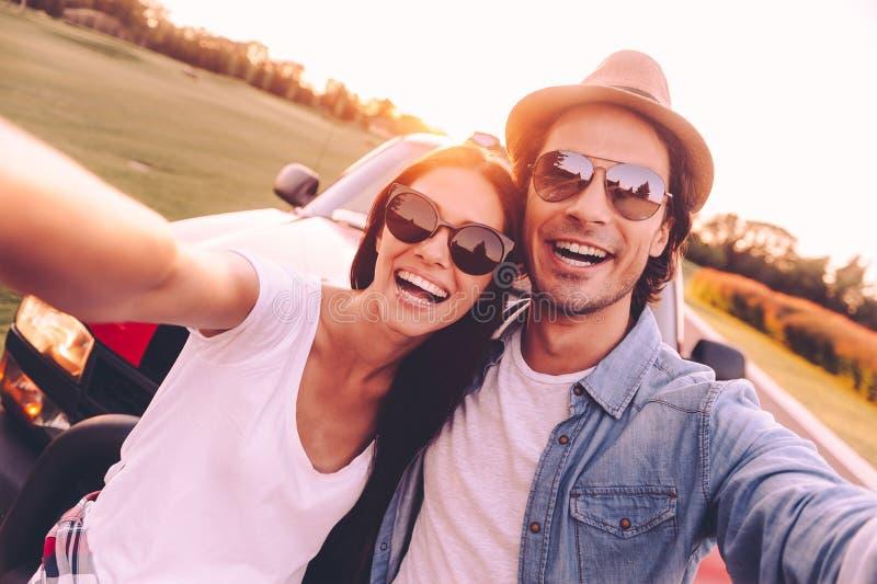 我们爱selfie! 免版税库存图片