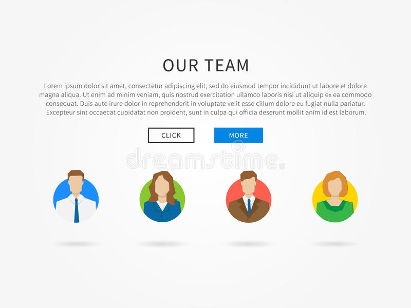 我们的与五颜六色的具体化的队网页模板 皇族释放例证