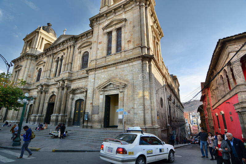 我们的和平的夫人大教堂大教堂  广场Murillo 拉巴斯 流星锤 库存照片