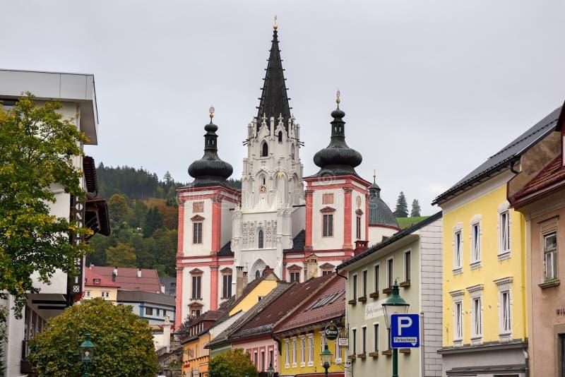 我们的夫人寺庙在城市Mariazell,朝圣站点天主教徒的 奥地利 免版税库存照片