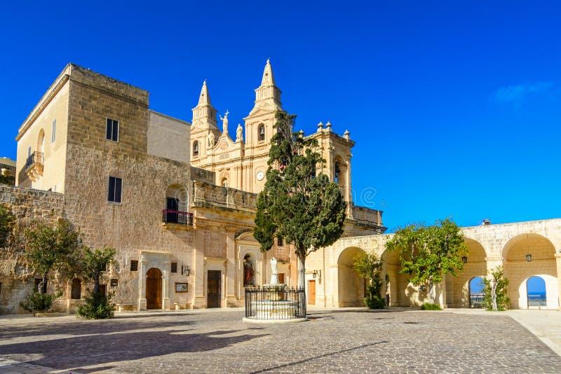 我们的夫人胜利, Mellieha,马耳他教会  免版税库存照片