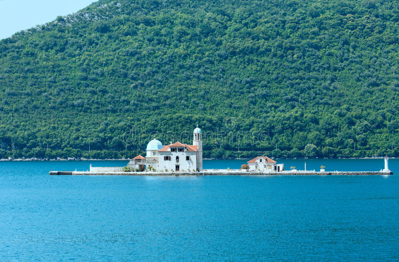 我们的岩石的夫人罗马天主教堂。(Perast、黑山, Kotor) 免版税图库摄影