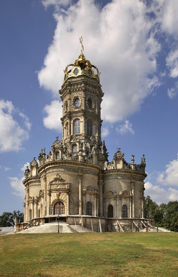 我们的标志(Znamenskaya教会)的夫人教会在Dubrovitsy 俄国 免版税库存图片
