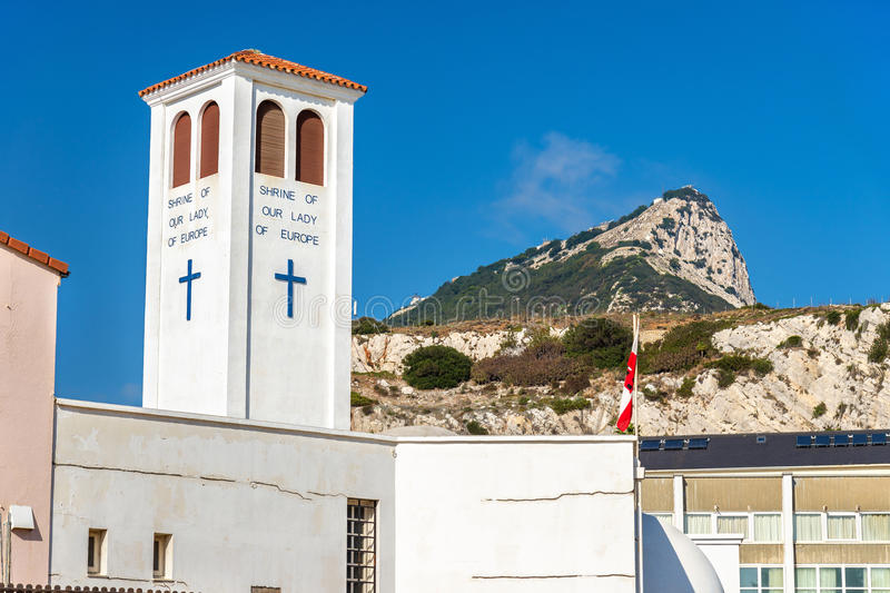 我们的欧洲寺庙的夫人在直布罗陀 免版税图库摄影