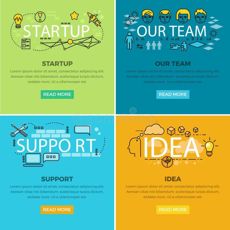 我们的队起动和想法支持网海报 库存例证