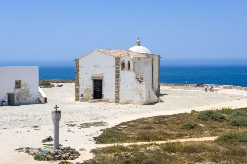 我们的雍容的夫人小教会在萨格里什堡垒的在阿尔加威 免版税图库摄影