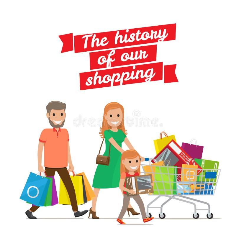 我们的购物的历史 与推车集合的家庭 皇族释放例证