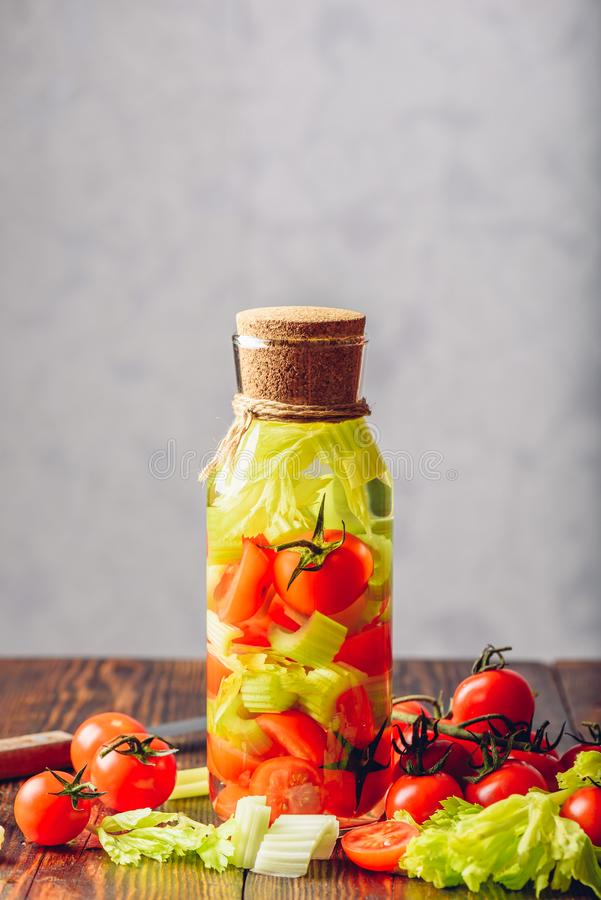 戒毒所水用蕃茄和芹菜 免版税库存照片