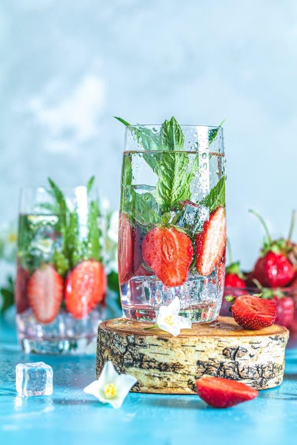 戒毒所灌输了水草莓和薄菏 免版税库存照片