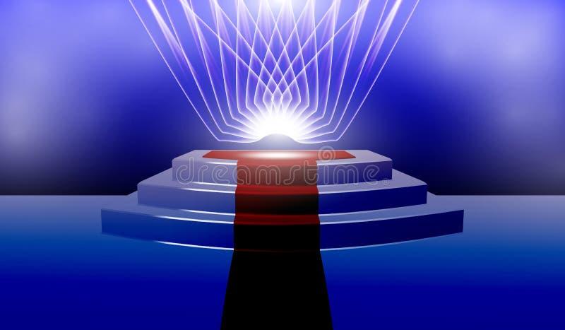 介绍或表现的圆柱形指挥台与隆重,点燃由聚光灯 向量例证