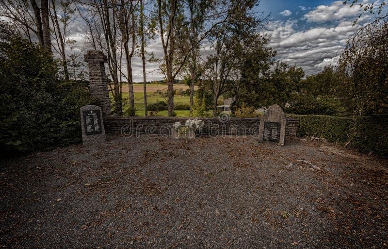 战争坟墓纪念与下落的战士的名字在赖希斯霍夫德国 对下落的战士的纪念碑第一和 免版税图库摄影