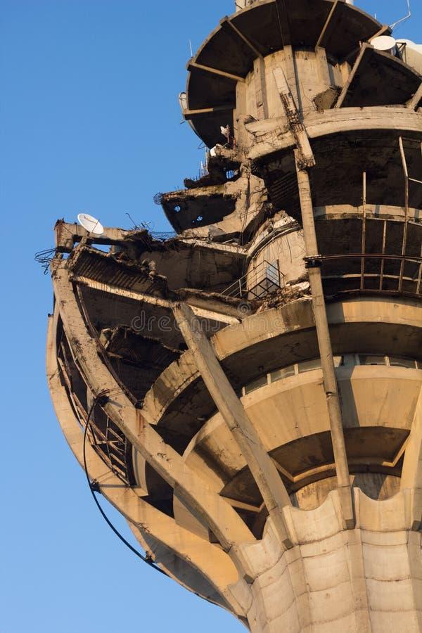 战争损坏的塔 库存图片