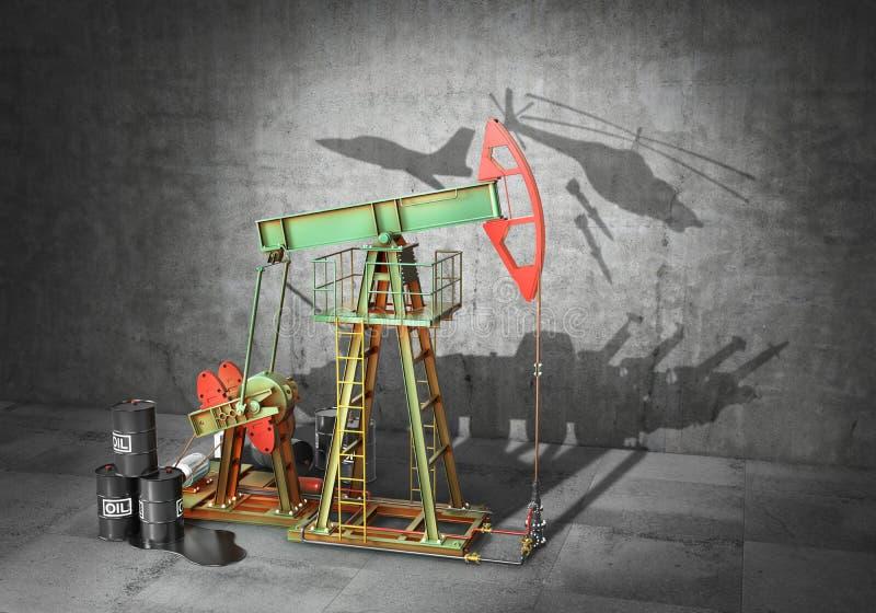 战争概念 冲突在资源上 油泵投下了阴影以小组的形式军队设备 3d 库存例证