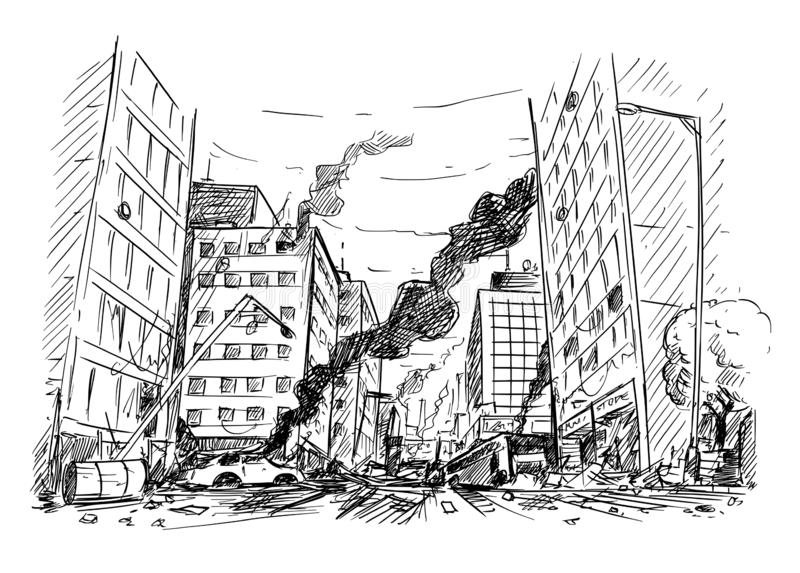 战争毁坏的城市街道手图画或暴乱或者灾害 向量例证
