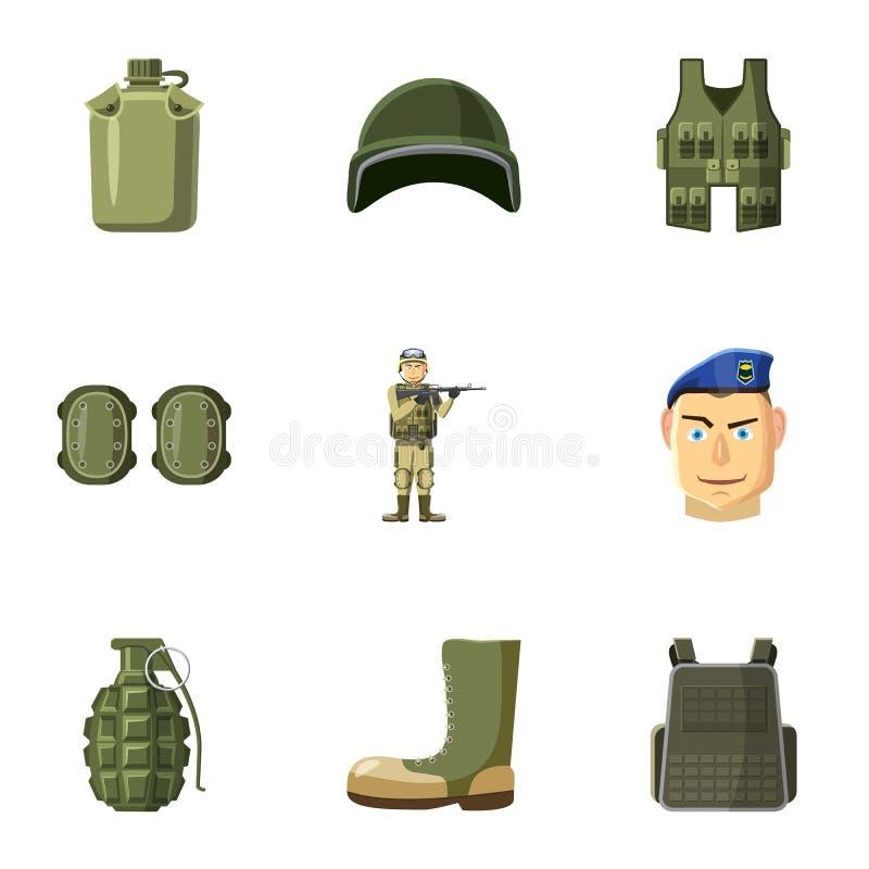 战争象的设备设置了,动画片样式 库存例证
