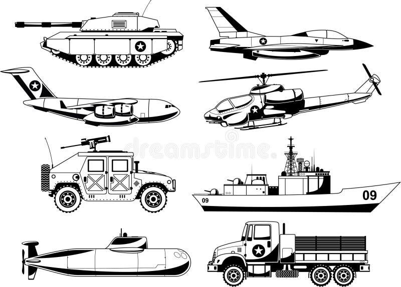 战争车详述了象集合 向量例证