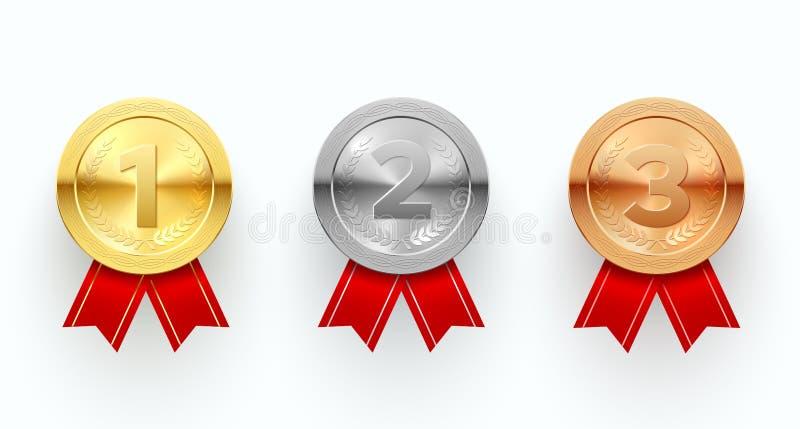 战利品奖牌集合,奖励标志和仪式 向量例证