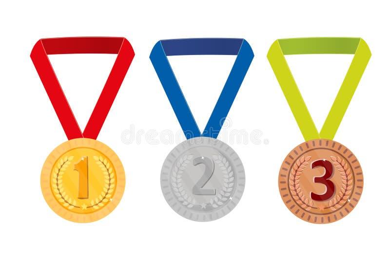 战利品奖,隔绝在白色背景 其中任一是可能导航花圈的例证图象月桂树损失解决方法被称的范围 图,硬币 1 2 3枚奖牌金银古铜 向量 库存例证