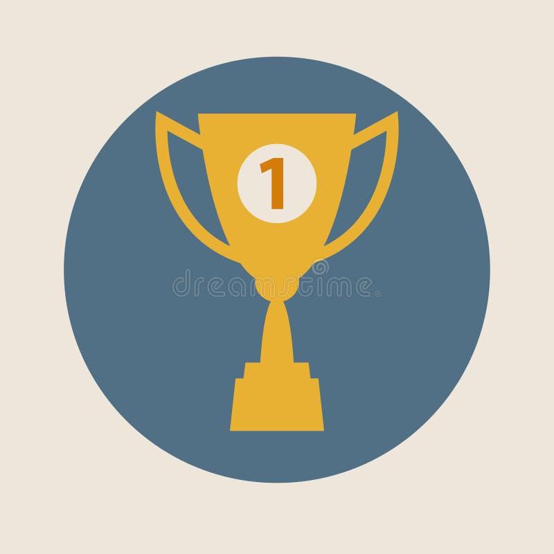 战利品杯子传染媒介象,平的设计 概念赢取,胜利,冠军,质量 库存例证