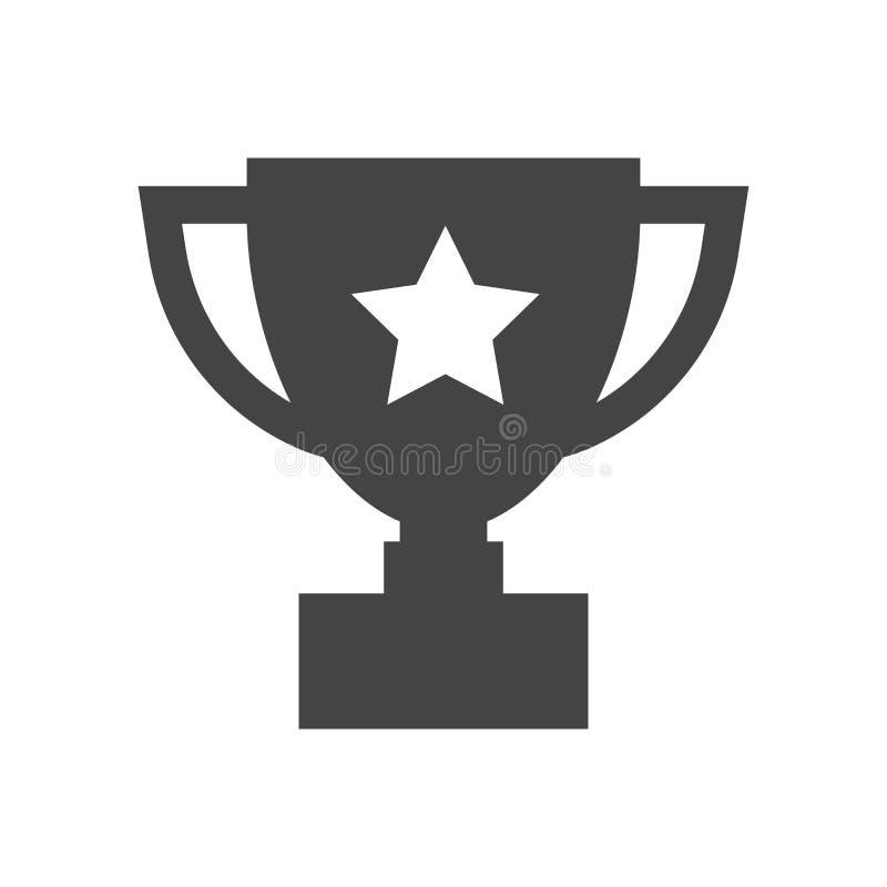 战利品杯子平的传染媒介象 简单的优胜者标志 黑illustr 皇族释放例证
